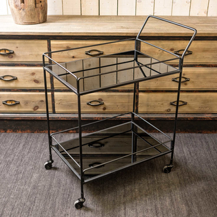 Bar Cart with Mirrored Shelves