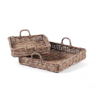 Square Grey Kubu Rattan Tray with Handles
