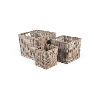 AD925 Tall Square Grey Kubu Rattan Basket