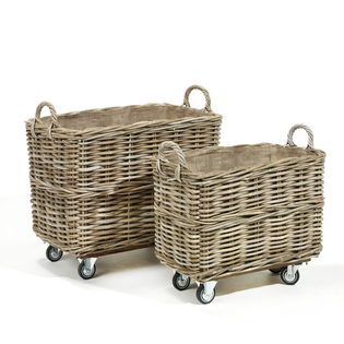 Grey Kubu Rattan Laundry Hamper on Wheels