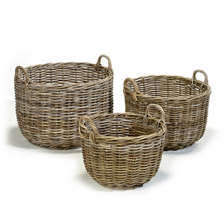 Round Grey Kubu Rattan Basket with Handles