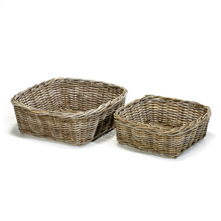 AF326 Shallow Square Grey Kubu Rattan Basket