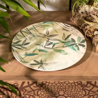 Bamboo Sketch of Nature Field Serving Plate