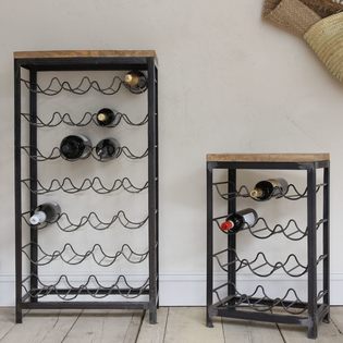 Obra Iron and Mango Wood Wine Racks