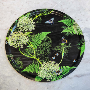 Black Dill Birchwood Circular Tray