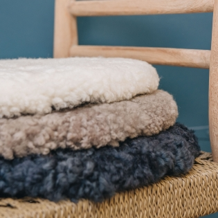Fia Patchwork/Natural Sheepskin Round Seat Pads