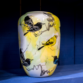 Cylinder Porcelain Yellow Bird Vase