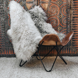 Sanda Sheepskin Light and Natural Grey