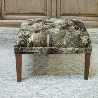 Beeston Footstool in Sage Lomond velvet