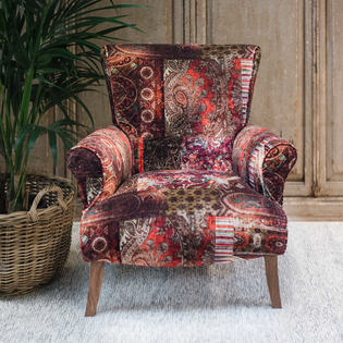 Stirling Armchair in Red/Plum Lomond velvet fabric