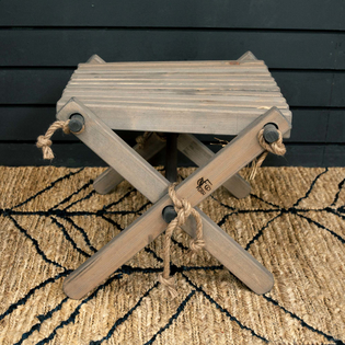 Swedish Folding Rope Chair and Stool Ash Grey