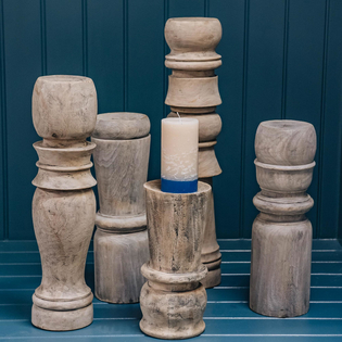 Five Large Wooden Candlesticks