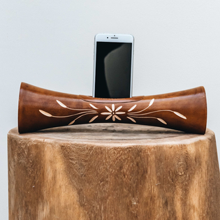Portable Natural Speaker Mango Wood Light Brown Flower Large