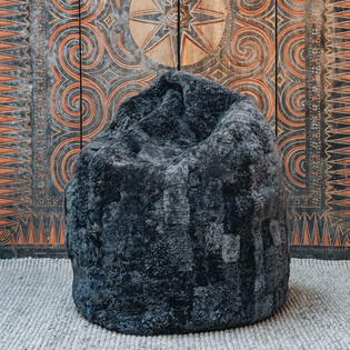 Carbon Lena Patchwork Sheepskin Beanbag Chair