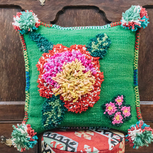 Albanian Knotted Flower Cushion Green Small