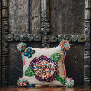 Albanian Knotted Flower Cushion Natural Small