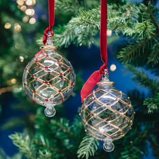 Charlotte Glass Baubles 8cm