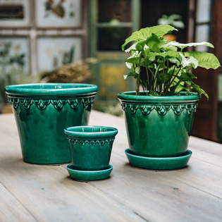 Azure Blue Glazed Copenhagen Pots with optional Saucers