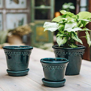 Petroleum Blue Glazed Copenhagen Pots with optional Saucers