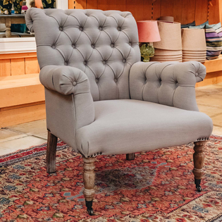 Dove Grey Linen Button Back Armchair
