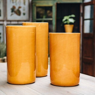 Amber Yellow Glazed Oak Vases