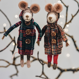 Felt Mice in Duffel Coats Christmas Decorations