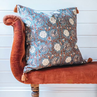 Leela Cushions, Red and China Blue