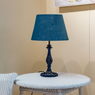 Pooky Straight Empire Lampshades in Navy Jute with Yellow Lining