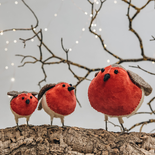 Velvet & Felt Robin Christmas Decorations
