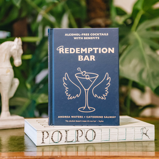 Redemption Bar: Alcohol-free Cocktails with Benefits by Andrea Waters and Catherine Salway (the horse bookend is available in store)