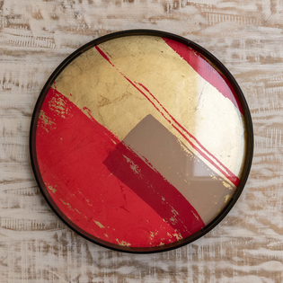 Abstract Raspberry Round Tray