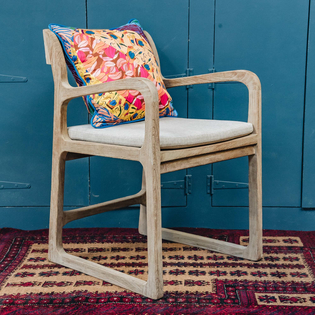 Sally Reclaimed Teak Garden Armchair with seat cushion (included). NB COlorued cushion is not included.