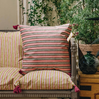 Alwar Blush Cushion (against back of sofa)