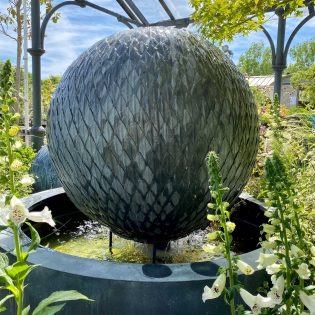 Leaf Ball Zinc Water Feature with Round Base
