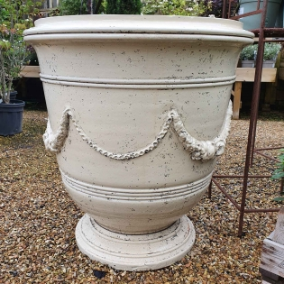Roy Soleil Ivory Glazed Vase Planter with Garland