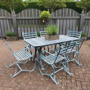 Verdigris Metal Garden Furniture Set for Six