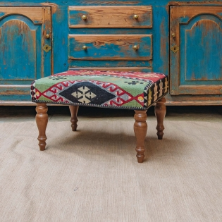 Large Kilim Stool (green)