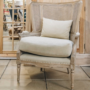 Marlborough Oak Salon Bergere Armchair with Linen Cushions