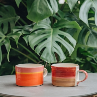 Tri Colour Wash Ceramic Mugs