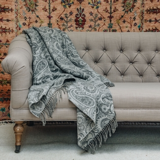 Bayswater Paisley Throw - Slate