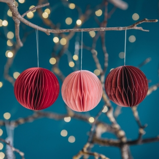 Round Honeycomb Paper Baubles