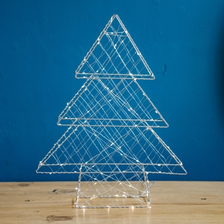 Metal Silver Tree with White LEDs