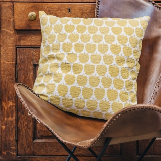 Apple Cushion in Light Yellow