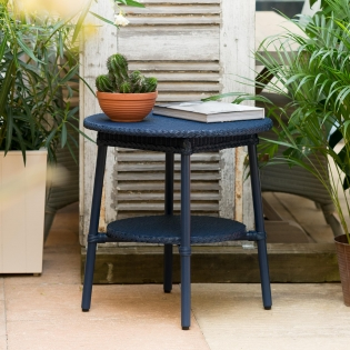 Classic Lloyd Loom Round Coffee Tables in Indigo Blue