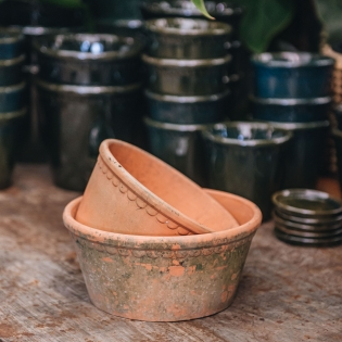 Rustic Terracotta Low Lacepots