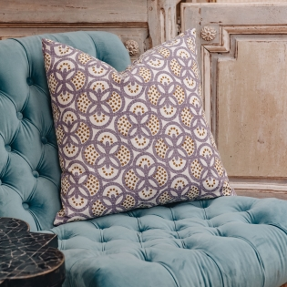 Peacock Cushion in Lilac and Olive