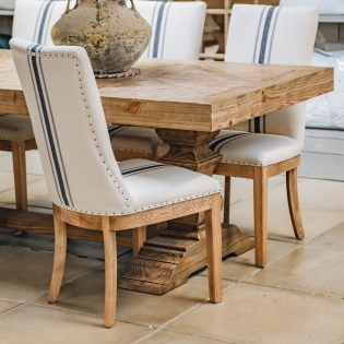 St James Blue Stripe Oak Dining Chair