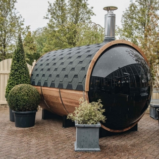 Barrel Sauna with Smoked Window
