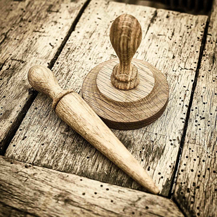 Pot Tamper and Mini Dibber Set in Oak