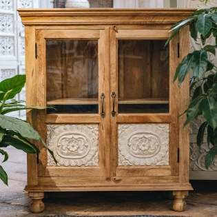 Natural Glass Fronted Mango Wood Sideboard